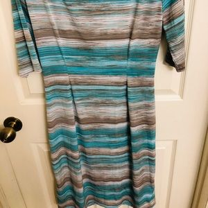 Blue and grey stripped knee length dress!